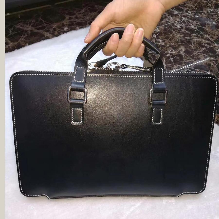 Luxury Leather briefcases Men Business Genuine Leather Briefcase Vintage Laptop Handbag Computer Bags for Men