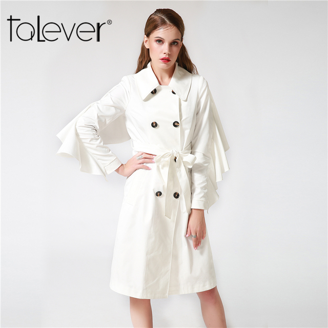 Women's Casual Windbreaker with Sashes Women Double Breasted Ruffles Long Trench Coat Female White Black Outerwear Coat Talever