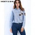 Mujeres de La Manera Azul Flojo Blusa Da Vuelta-Abajo Con El Escudo Decration Camisas Tops Mujer Ropa Blusas Camisas T726455Y