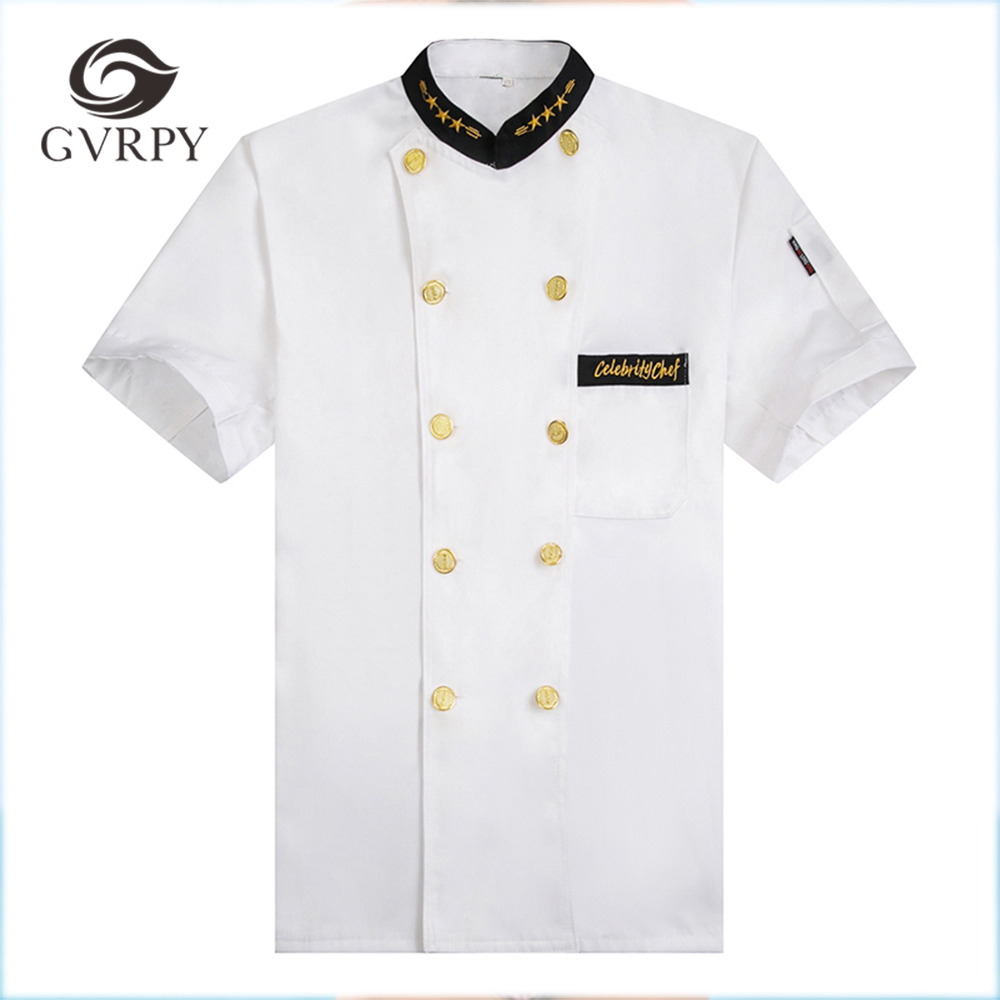 New Arrival White Chef Kitchen Cooking Workwear Clothes Short Sleeve T-shirts Restaurant Cozinha Double-breasted Uniforms Jacket