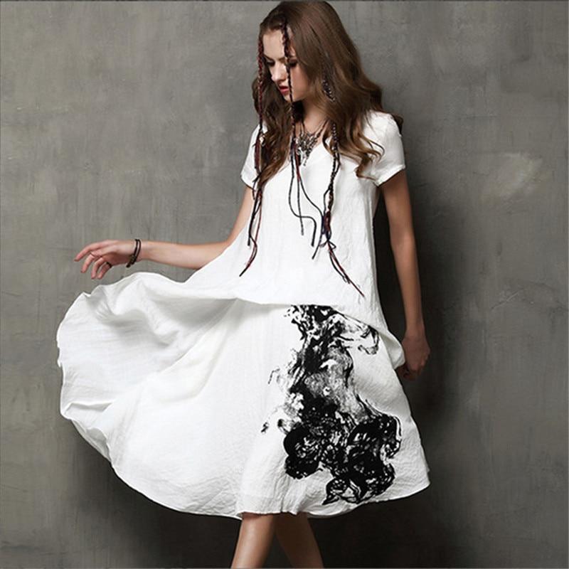 Vintage calligraphie femmes robe 80% coton + 20% lin manches courtes col en V encre blanche impression robe femmes été Vestido Feminino