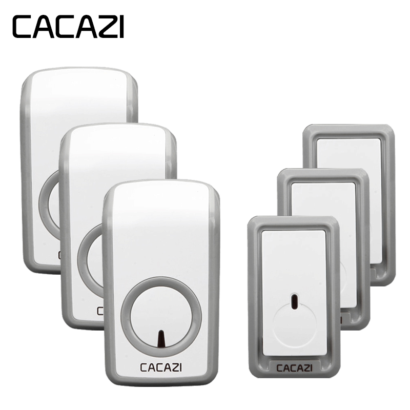 CACAZI Wireless Doorbell Waterproof 350M Remote 3 Battery Button 3 Receivers 48 Chime 6 Volume EU Plug Home Cordless Bell cacazi wireless doorbell waterproof 350m remote 3 battery button 3 receivers 48 chime 6 volume eu plug home cordless bell