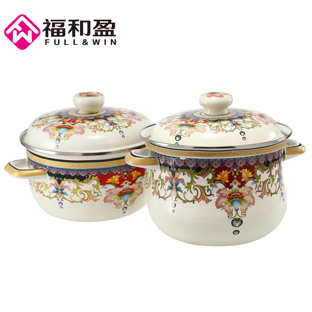 22 24cm Multi Purpose Soup Pot Enamel Pot With Toughened Enamel Cover Kitchen Pot For Gas