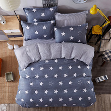 JU Home Bedding Sets White Star Clouds Plaid Twin/full/queen/kingsize Duvet Cover Sheet Pillowcase Bed Linen Bedclothe(China)