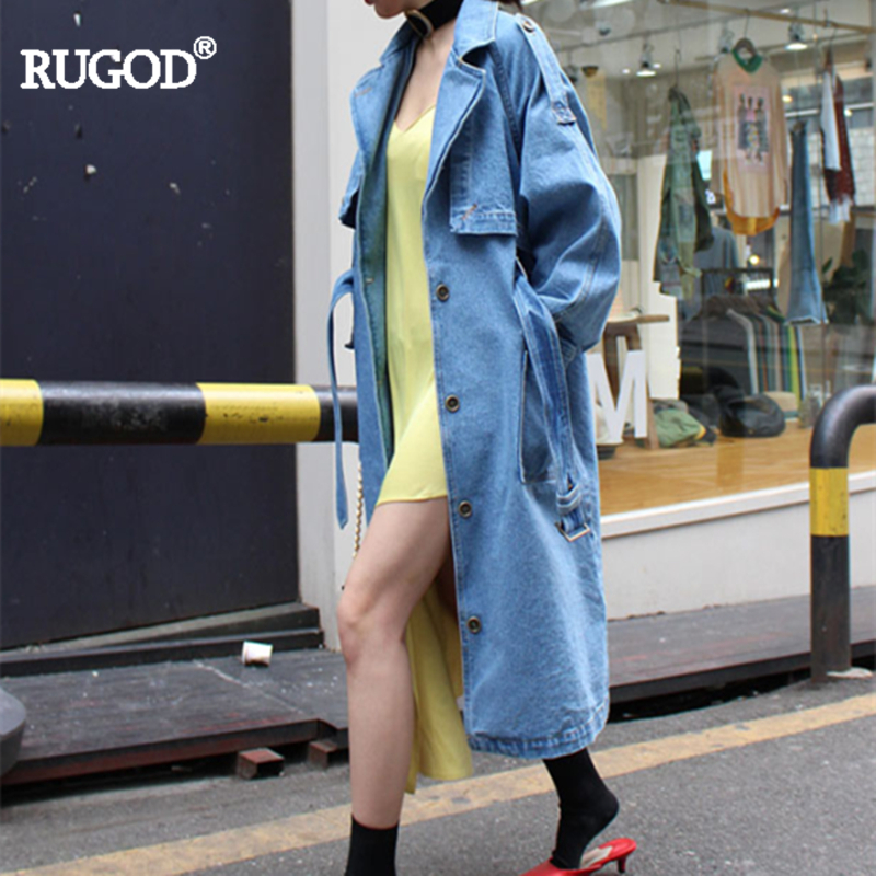 RUGOD 2018 Autumn Winter All-purpose Vintage Lace Up X-Long Demin   Trench   For Women Solid Casual Oversize Turn-down Collar Coat