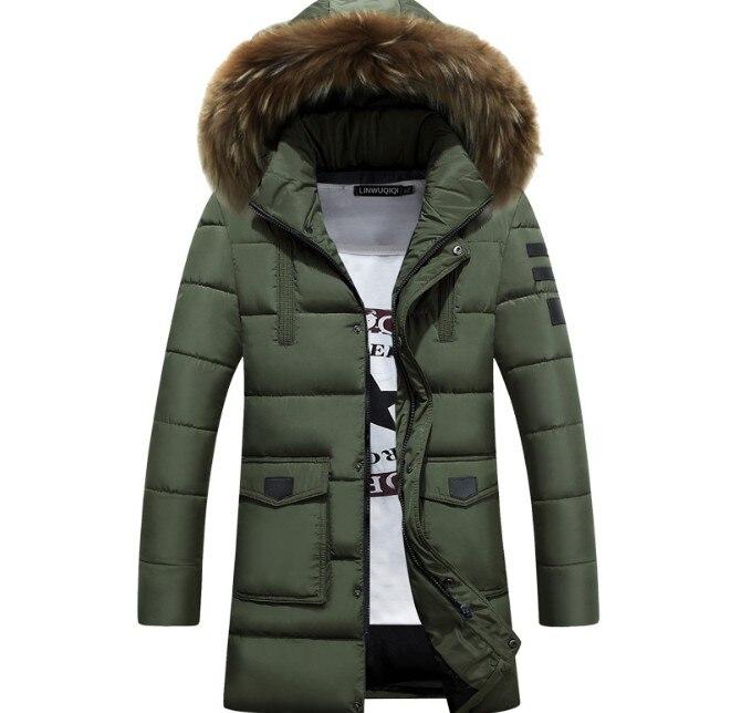 Men Winter Warm Hooded Long Down Jackets Outwear Warm Parkas New Male Casual Long Thicker Jackets Szie 3XL