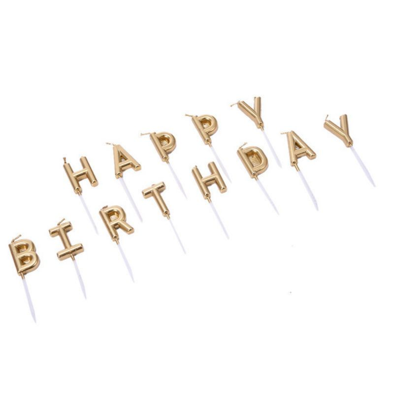 Happy Birthday Letter Cake Candles Lovely Gold Sliver Cupcake Topper Party Festival Supplies New In From Home Garden On