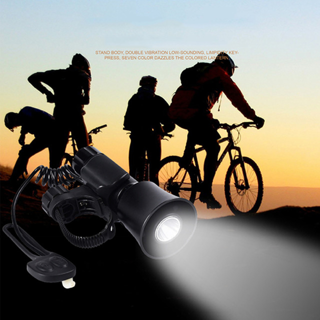 Multifunctional Q5 Bike Bicycle Front Light Universal Front Head Light Lamp With Bell Horn Black + Battery + Charger