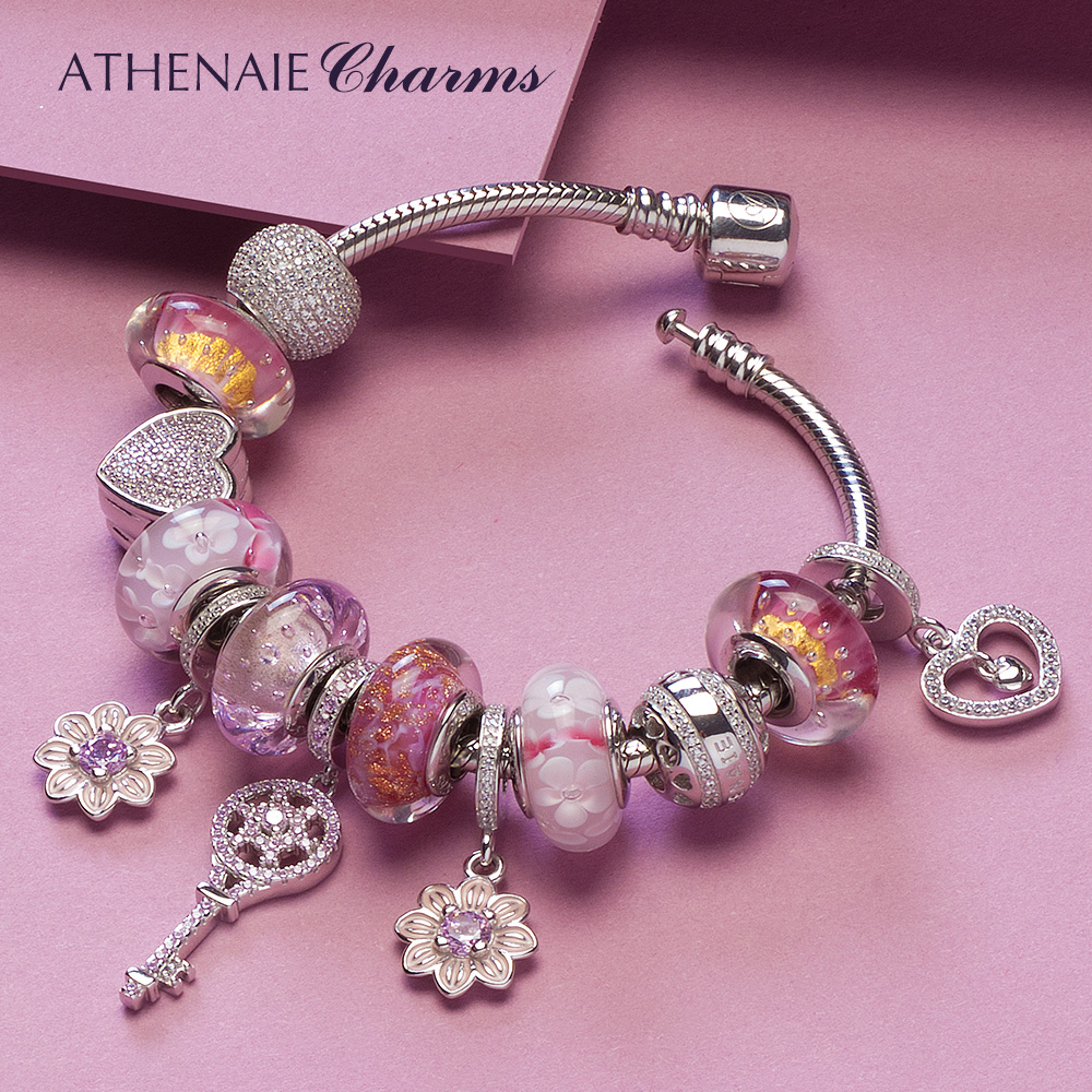 ATHENAIE 925 Silver Charm Bracelet with Heart Chamrs & Cherry Blossom & Key Pendant Pink Murano Glass Beads Friendship Bracelet