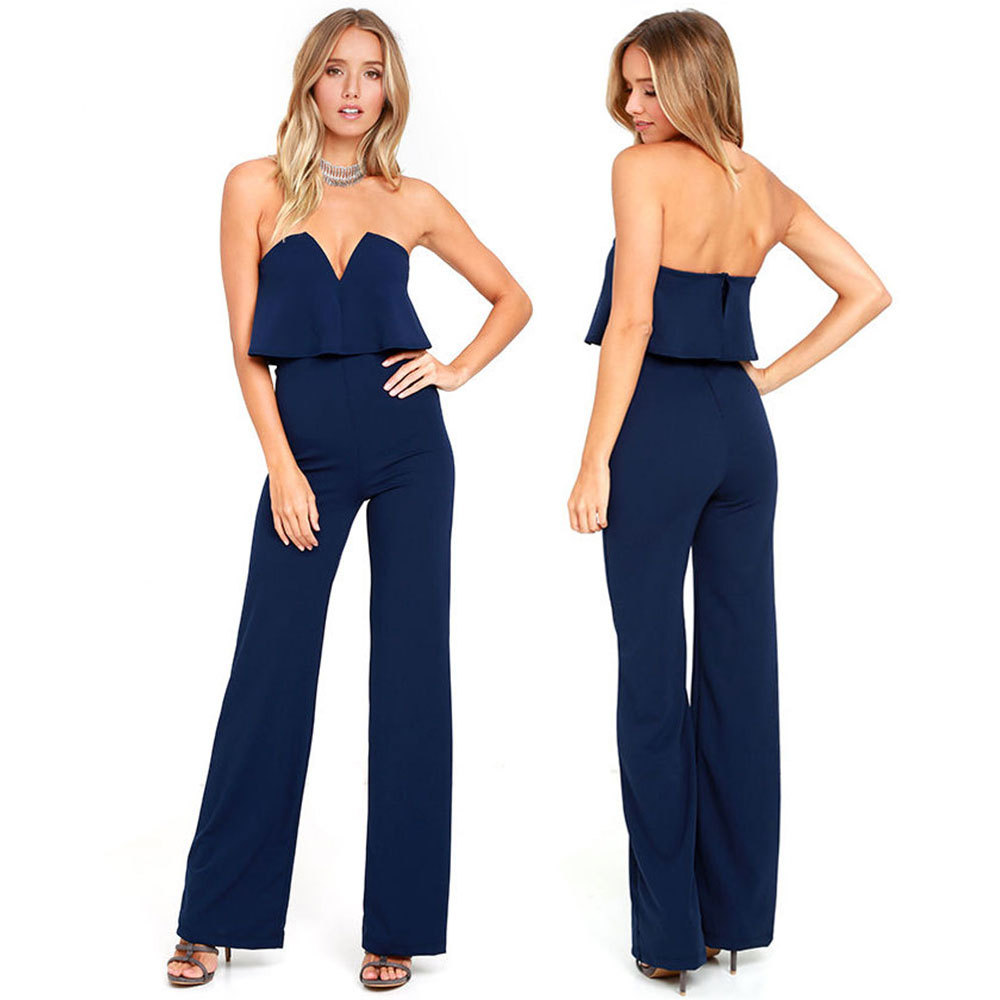 Women Nightclub Jumpsuits Summer Sexy Strapless Deep V-neck Solid Color Backless Overall ...