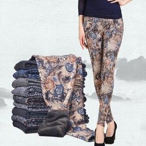 Image 3 - YAVO SOSO Herfst Winter Stijl Plus Fluwelen Warme leggings Vrouwen Plus size XXXL Printing Bloemen 20 Kleuren dikke vrouwen broek