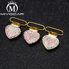 MIYOCAR soecial design bling crown gold round shape pacifier clip  holder good quality handmade SP023