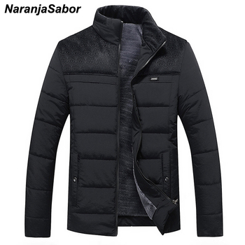 NaranjaSabor Winter Men's Thick Coats Warm Casual Cotton Slim Spliced Parkas Stand Collar Thick Jackrts Mens Brand Clothing N413