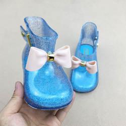 Детские для маленьких девочек дождь сапоги теплые Красота лук дождь сапоги модные мягкие сапоги на резиновой подошве детская детей