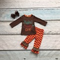 baby girls Fall/Winter happy thanksgiving clothing give chevron outfits children brown top cotton  pant with accessories