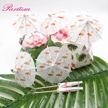 1set Flamingo DIY Cocktail Parasols Paper Umbrella Drink Picks Cake Topper Picks Paperboard Crafts For Birthday/Party Supplies(China)