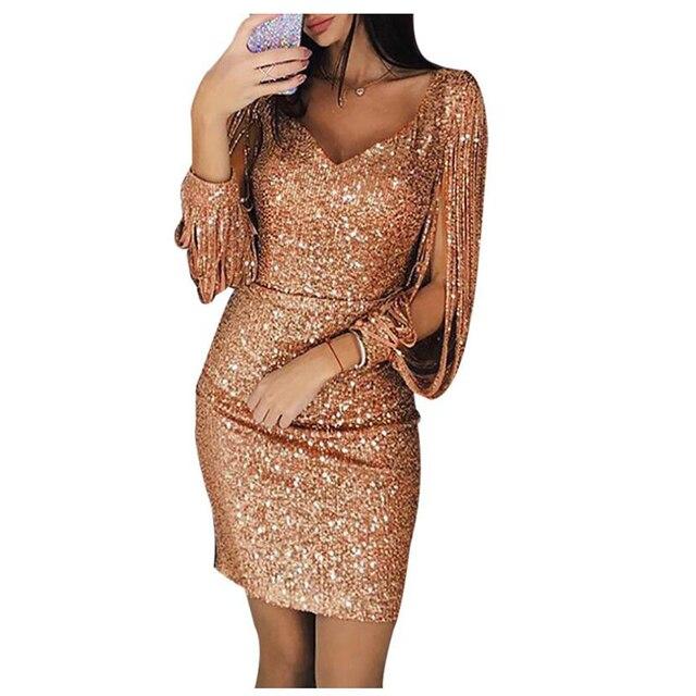 Shikoroleva Dress For Women 2019 Sexy Women s V Ncek Sequin Glitter Long  Sleeve Shining Bodycon Robe 4bc3ecd26831