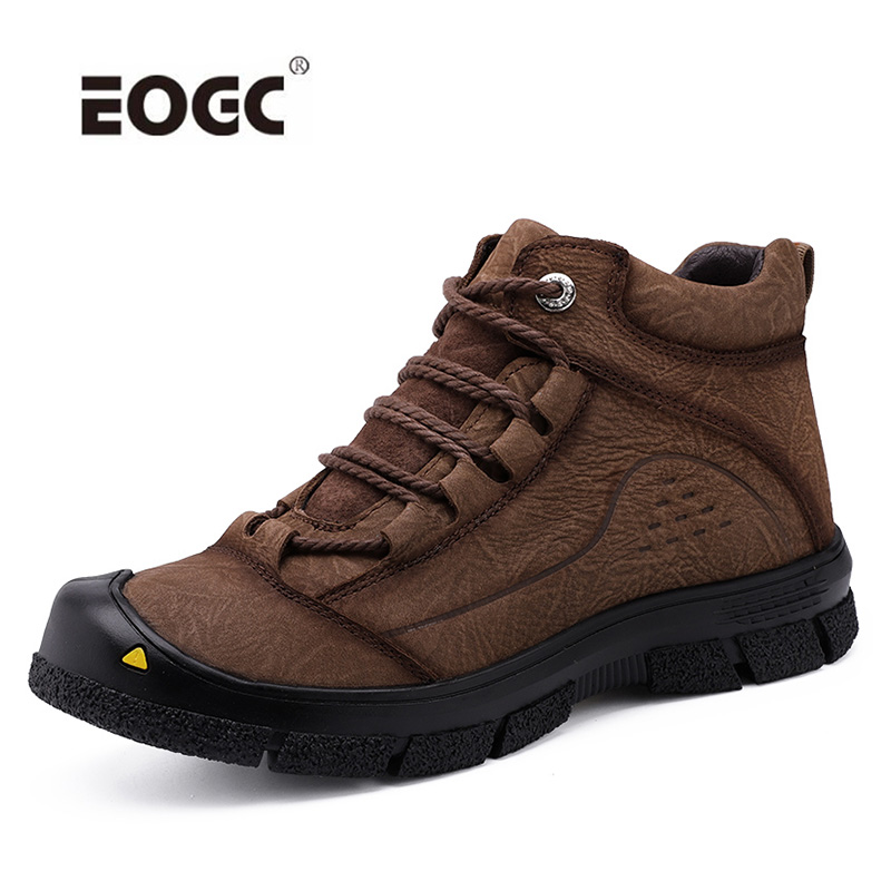 Natural Leather Men Boots Handmade Top Quality Platform Snow Boots Outdoor Autumn And Winter Shoes Men