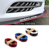 Amortecedor Do Carro Tira Styling Molduras/Choques Lip Splitter Exterior Front Bumper Lip Kit preto e vermelho/azul/branco de fibra de carbono olhar