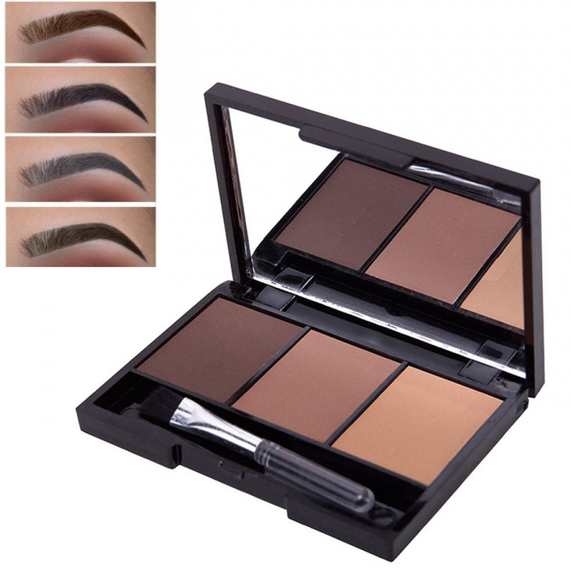 3 Colors Eyebrow Powder Palette Waterproof Shade For Eyebrows Enhancer Cosmetic Brush Mirror Box Makeup Tools Set