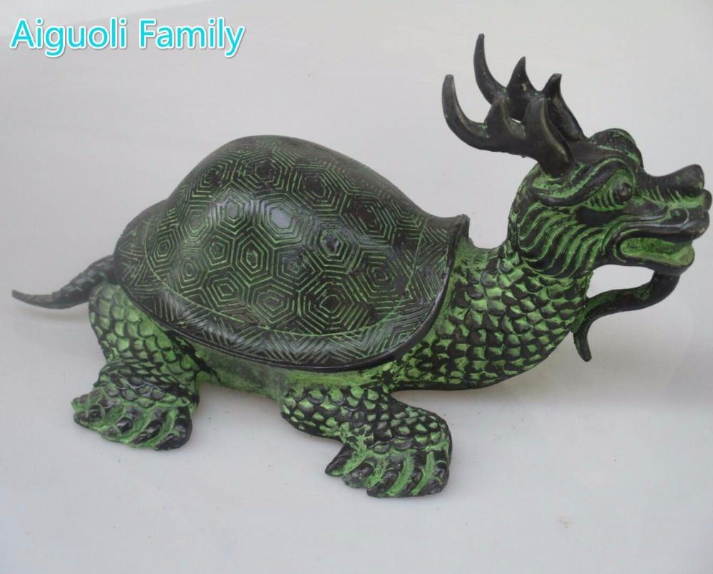 Statue de tortue Dragon en Bronze chinois/grande Sculpture de tortue Feng Shui