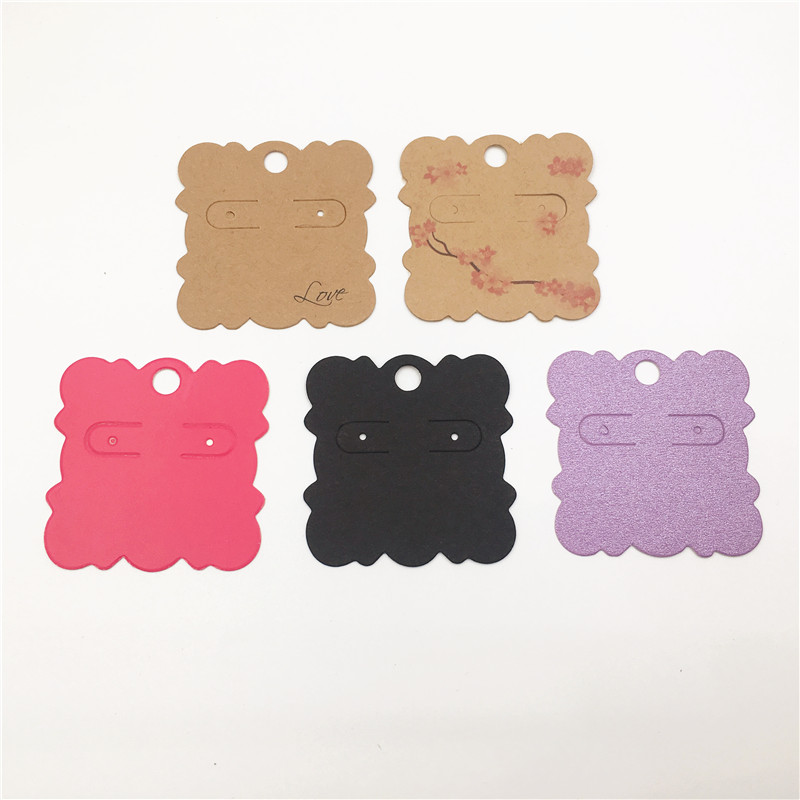 New Fashion 100Pcs/lot 5*5cm Small Paper Cards Jewelry Earrings Card Tags Cute Ear Studs Earring Display Packaging Cards