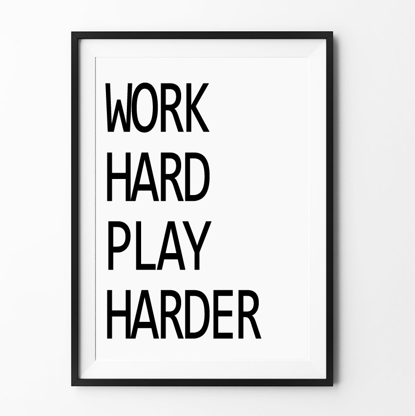 work hard play harder home decorative wall art cartoon inspiration canvas poster pictures painting on the wall frame not include