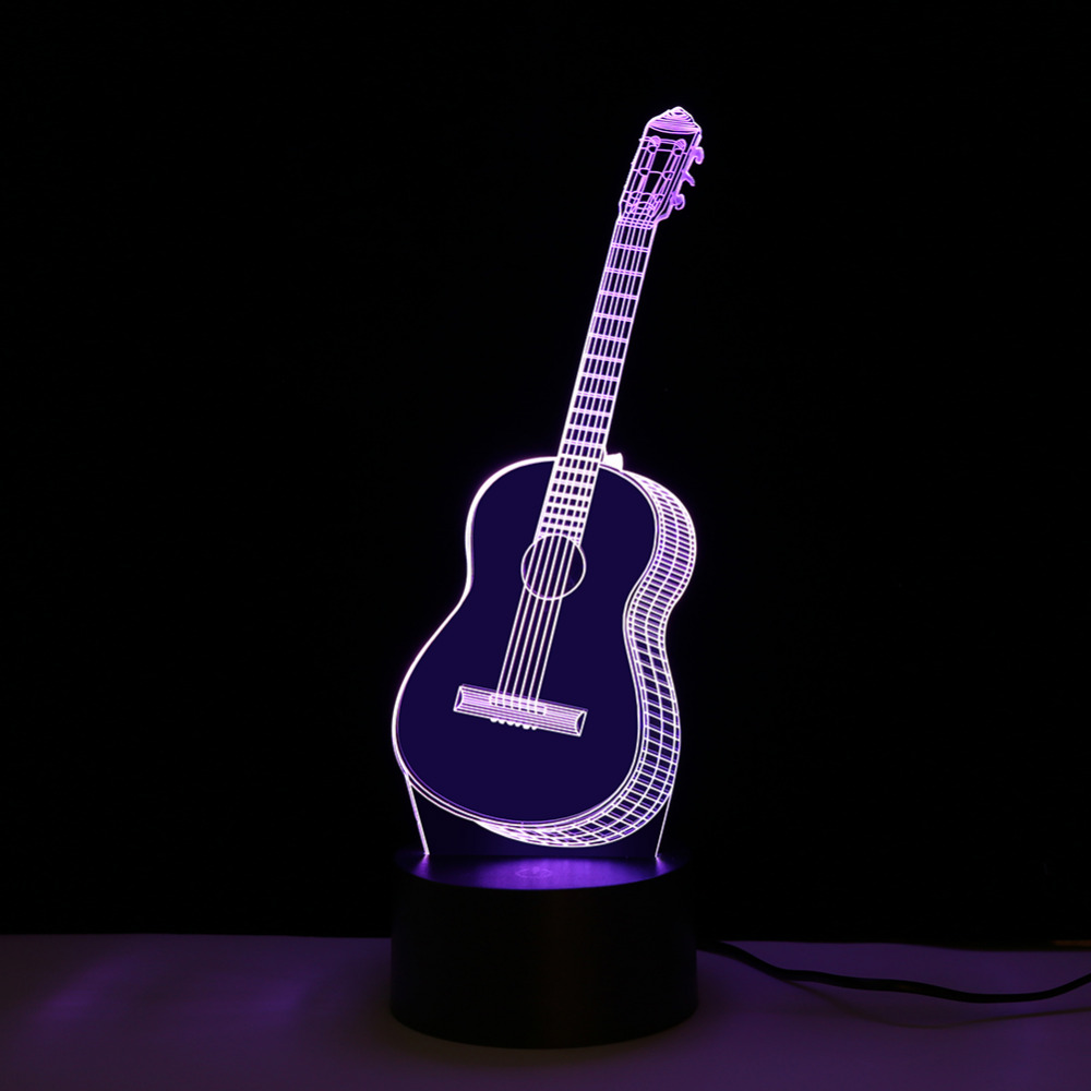Creative 3D LED Night Light Guitar Shape Lamp Color Changing Decorative Desk Lamp Home Decor