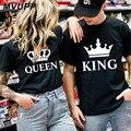 Casal t camisa para marido e esposa amantes roupas rainha rei engraçado topos camiseta femme casual das mulheres dos homens vestido 2019 ulzzang harajuku