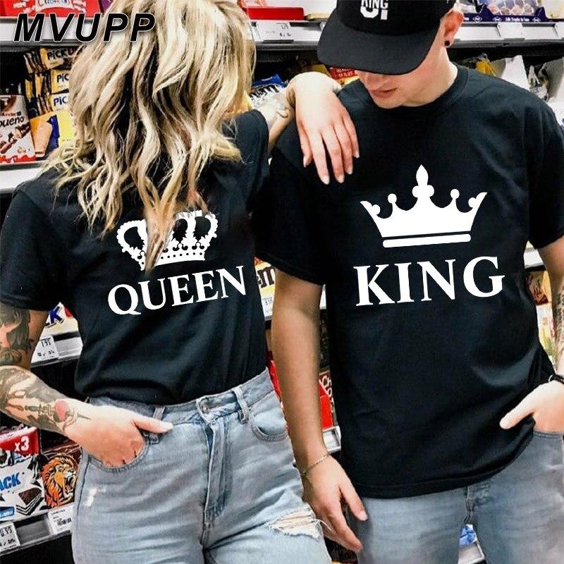 Unisexe Couple T-shirt King Queen Couronne Impression Vêtement Amoureux Haut Été