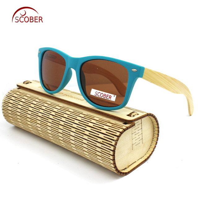 a3d049178547a  SCOBER  Fashions Trend Blue Natural Bamboo Wooden handmade Lady polarized  sunglasses Mirror Coated UV400 sun glasses with case