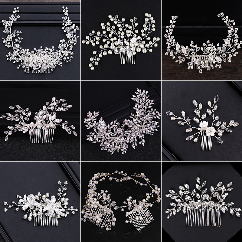 2018 New Design Silver Pearl Hair Jewelry Handmade Crystal Wedding Tiara Hair Combs Hot Sale Headpiece Bridal Hair Accessories(China)