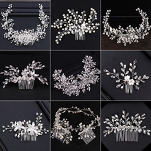 2018 New Design Silver Pearl Hair Jewelry Handmade Crystal W
