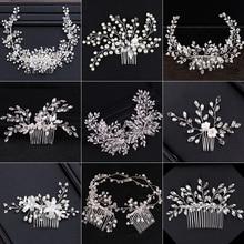 2018 nuevo diseño Plata Perla joyería de pelo hecho a mano cristal boda Tiara peinetas Venta caliente tocado accesorios para el cabello nupcial