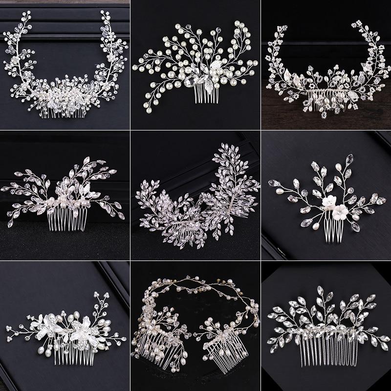 New Design Silver Color Pearl Hair Jewelry Handmade Crystal Wedding Tiara Hair Combs Hot Sale Headpiece Bridal Hair Accessories
