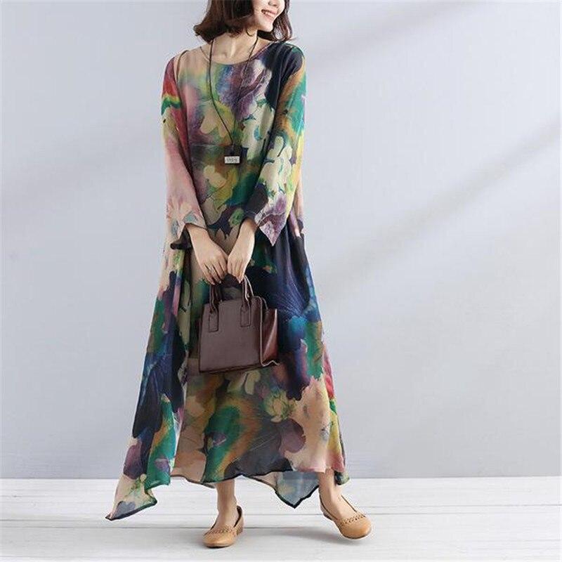 BUYKUD été femmes Maxi robe à manches longues irrégulière ourlet Vintage imprimé robe décontracté coton lin lâche Polyester chemise robe