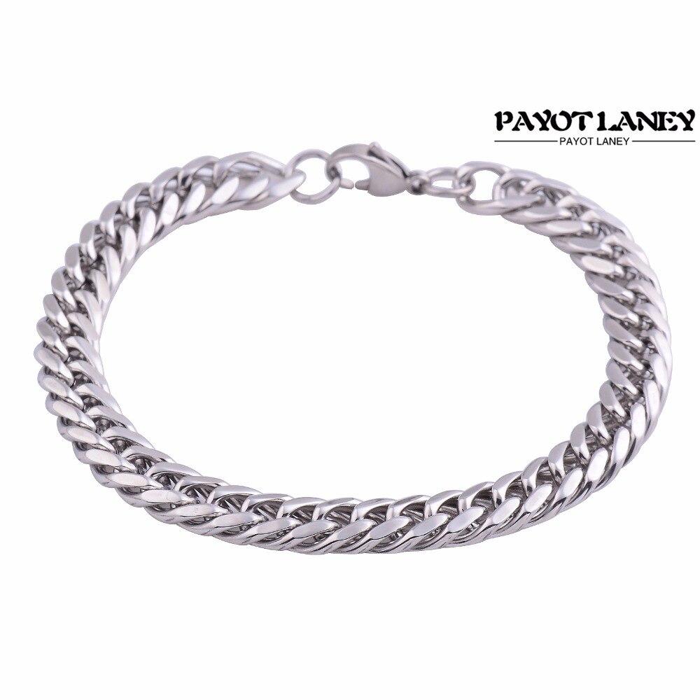 Width 9mm Fashion Stainless Steel Bracelets Silver Tone Link Chain Bracelets Bangle For Women Men Jewelry Gift