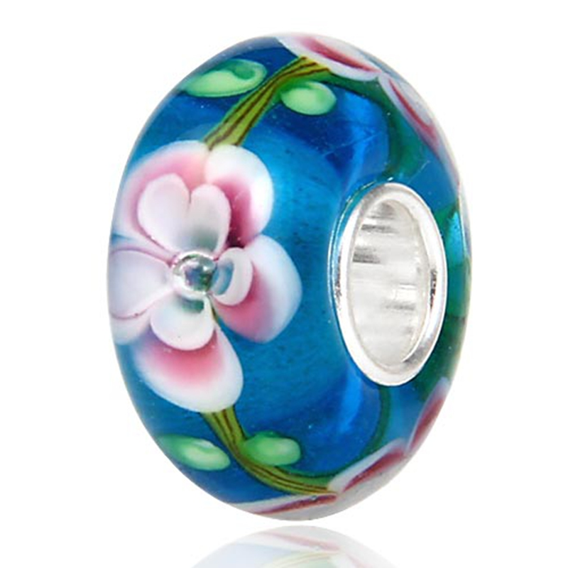 Sambaah Handmade European Multilayer Flower Blossom Murano Glass Charm Beads with 925 Silver Core fit Pandora Spring Bracelet in Beads from Jewelry Accessories