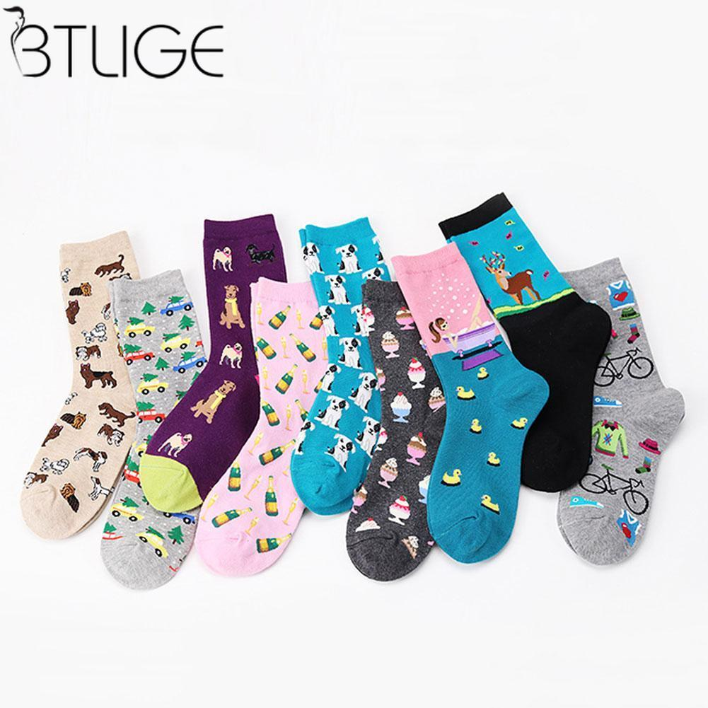 Cartoon Women Cotton   Socks   Puppy Dot Sea Bicycle Girl Ice Cream Cake Animal Printed Women   Socks   Casual Funny   Socks
