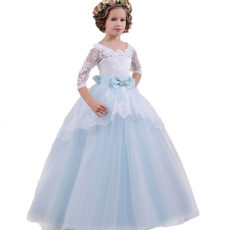 3-12yrs Baby Kids Summer Lace Flower Dresses With Bow For Girls Children Wedding Dresses Cinderella Princess Party Dress Clothes summer flower girls dress baby girl pink lace sleeveless princess dress 2017 kids clothes children dresses for party and wedding