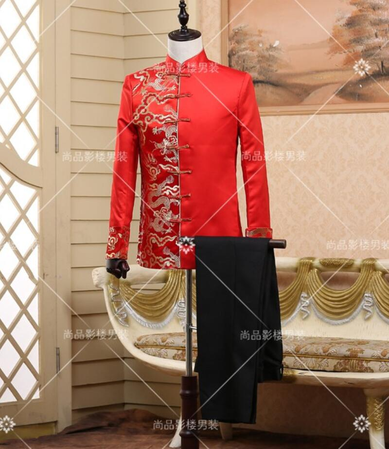 Suit Pant Chinese style wedding formal dress The traditional sets Chinese tunic suit The host
