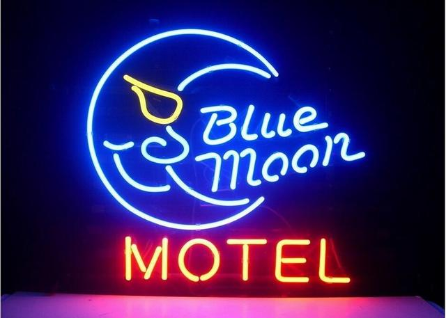 Blue Moon Motel Glass Neon Light Sign Beer Bar