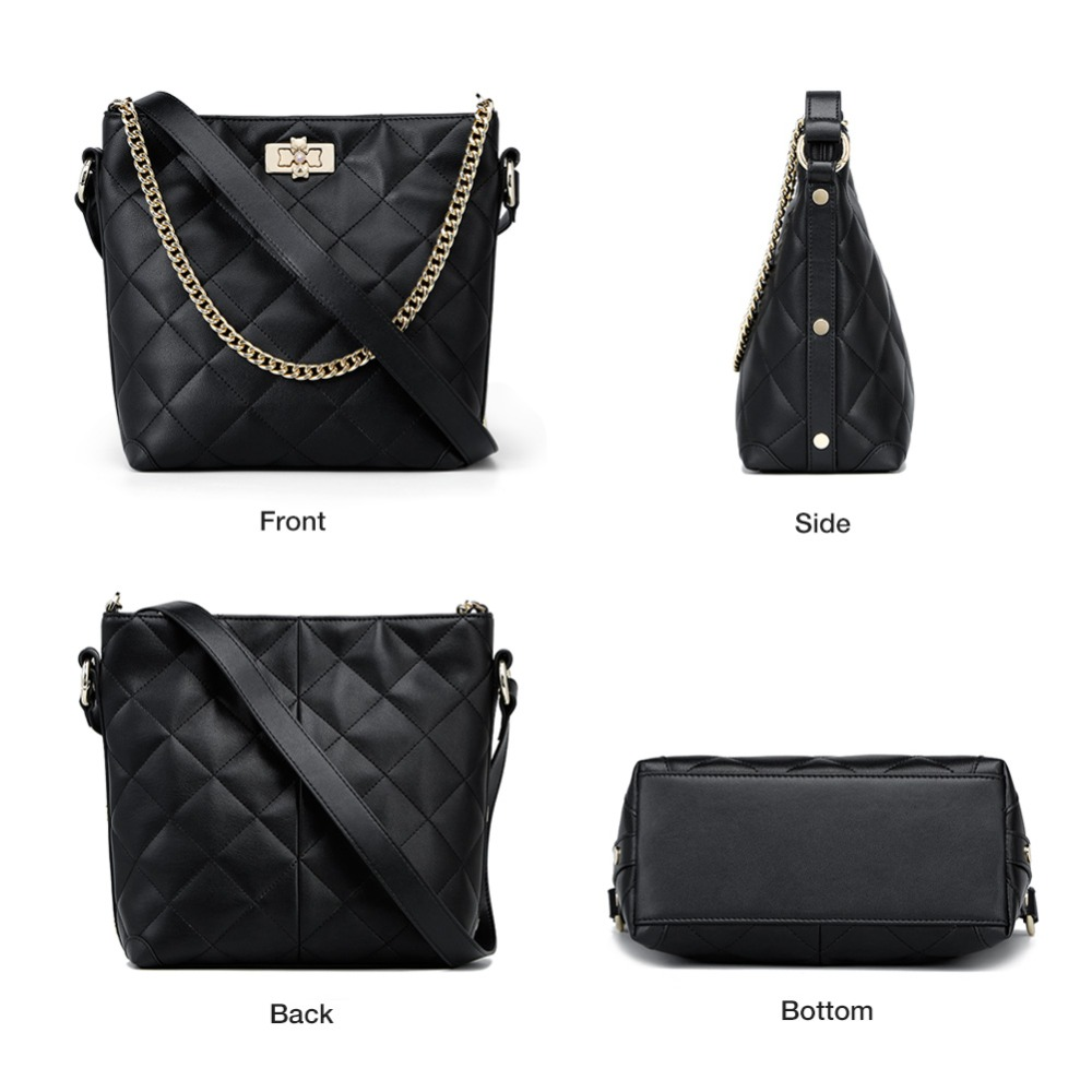 FOXER Brand Women Crossbody Bag Large Capacity Shoulder Bags Lady Bucket Bag Fashion Chain Lattice Bag with strap for Girls 2
