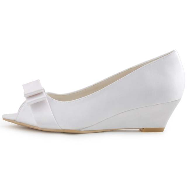 placeholder Shoes Woman WP1402 Champagne Low Heel Peep Toe White Ivory  Bridal Party Pumps Wedge Low Heels 777da9764307