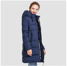 ICEbear Women's Winter Cotton Padded  2018 Hooded Collar Jackets Big Pockets Polyester Solid Slim Thickening Long Coat 17G666D