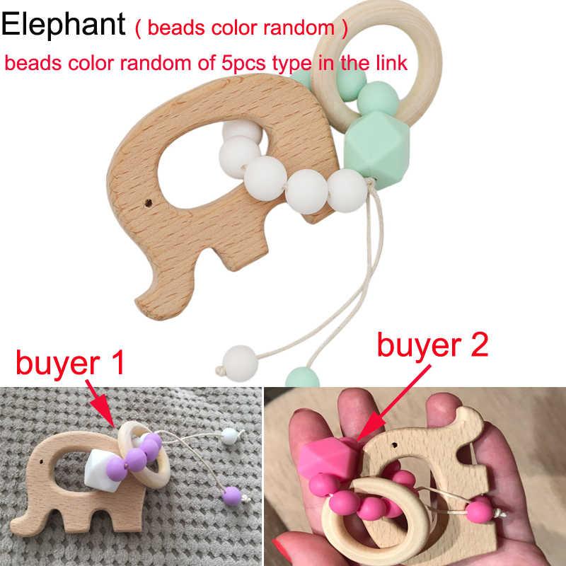 Baby Pflege Armbänder Holz Beißring Häkeln Kauen Perlen Zahnen Holz Cartoon Tier Rasseln Spielzeug Beißring Montessori Armbänder