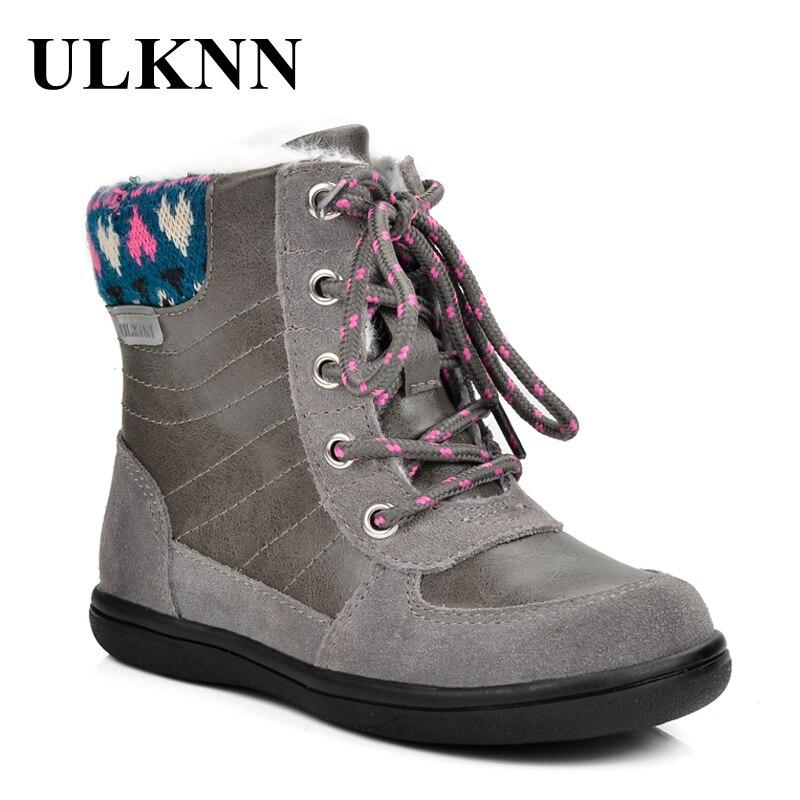 ULKNN Winter Kids Boots Girls Boots Children Warm Plush Sole Snow Fur chaussure Patch Snow Footwear bota infantil menina