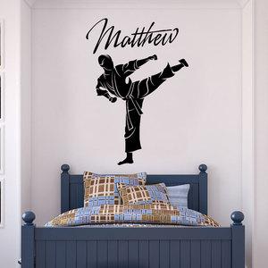 Image 1 - Виниловые наклейки на стены, настраиваемое имя, тхэквондо, боевое искусство, украшение для дома, обои для мальчиков и подростков, настенная живопись DZ30