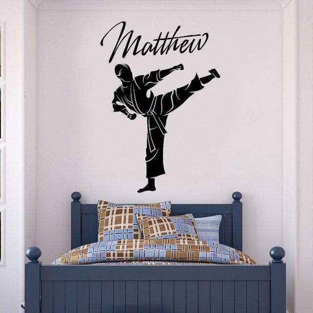 Виниловые наклейки на стены, настраиваемое имя, тхэквондо, боевое искусство, украшение для дома, обои для мальчиков и подростков, настенная живопись DZ30