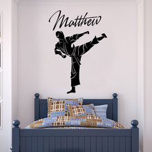 Anpassbare name Taekwondo kampfkunst vinyls wand decals junge teen hause dekoration tapete art mural DZ30